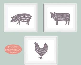 Kitchen Wall Art, Butcher Wall Art, Printable Kitchen Art, Gift for Chef, Printable, Gift for Cook, Modern Kitchen Art, Instant Download
