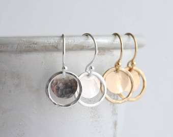 Disc & circle earrings - hammered circle earrings in gold or silver - small dangle earrings - gift for her - handmade minimal jewelry