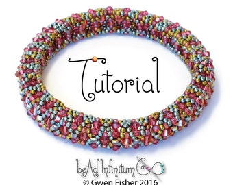 Beading TUTORIAL Bicone Bangle Bracelet Pattern Made with Seed Beads