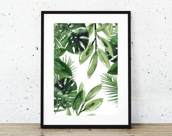 Green leaves tropical wall art print, 2017 trend, fashion print, safari, wall art, wall decor, instand download, print at home