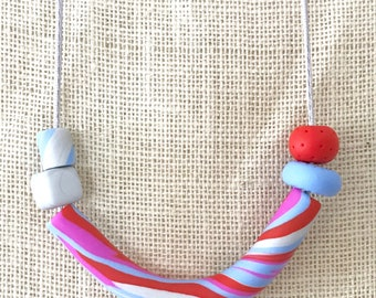 Blue and silver tube handmade polymer clay vegan necklace on 70cm polyester cord with breakaway clasp