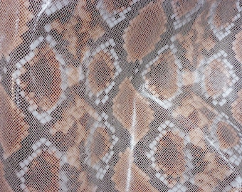 """Leather 12""""x12"""" Copper and Cream Water Snake Glossy embossed Cowhide 2.5-3 oz / 1-1.2mm PeggySueAlso™ E2055-03"""