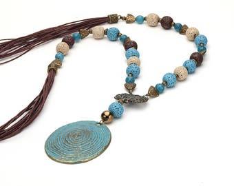 Lava necklace, Agate necklace, Blue necklace, Extra long necklace, Blue brown necklace, Blue boho necklace, Gemstone necklace, Lava jewelry
