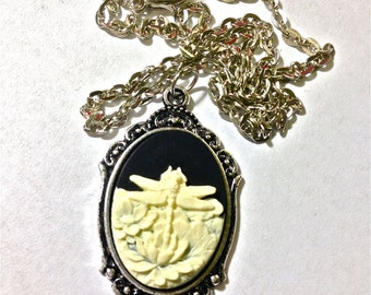 Dragonfly cameo necklace