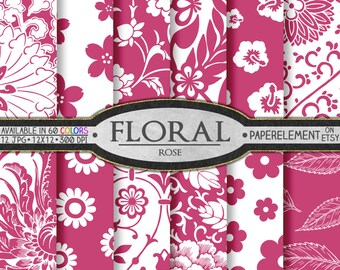 Rose Printable Floral Backgrounds: Pink Digital Paper - Instant Download Pink Scrapbook Paper