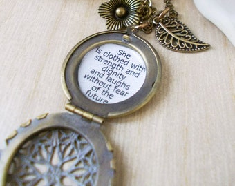 locket necklace Inspirational she is clothed with strength and dignity quote jewelry necklace for women proverbs 31 25 gift for women mother