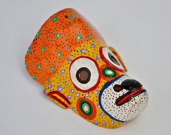 Tribal Mask - Intervened Orange Yellow Monkey Mask -  Carved Mask from Guatemala