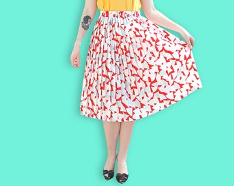 80s Red and White Midi Accordion Skirt - Memphis Abstract Geometric Print Pleated Skirt - Elastic Waist Color Block Abstract Graphic Skirt