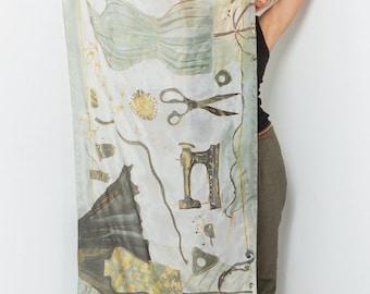 Luxury scarf designer silk scarf hand painted silk muffler woman  square silk scarf hand painted silk scarf large silk scarf gray shawl wrap