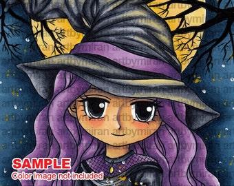 Digital Stamp - Hilda(#312), Digi Stamp, Coloring page, Printable Line art for Card and Craft Supply