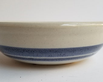 McCoy Gray Blue with Double Blue Band Shallow Bowl