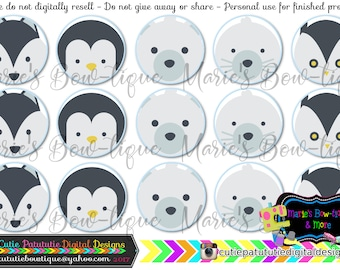 INSTANT DOWNLOAD - Arctic Animals inspired 4x6 One Inch Digital Bottle Cap Images