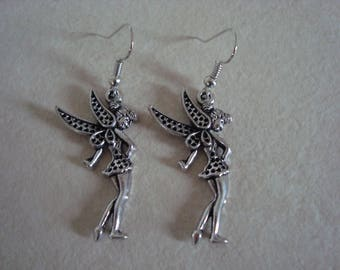 Silver-tone metal fairy earrings