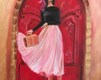 Fashion painting art print Paris 2017 woman skirt pink to red decor. Art print vintage reproduction A4 size.