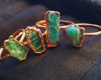 Amazonite Copper Stacking Ring small stone