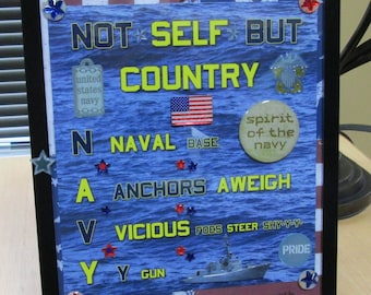 Not Self But Country NAVY Framed Poem
