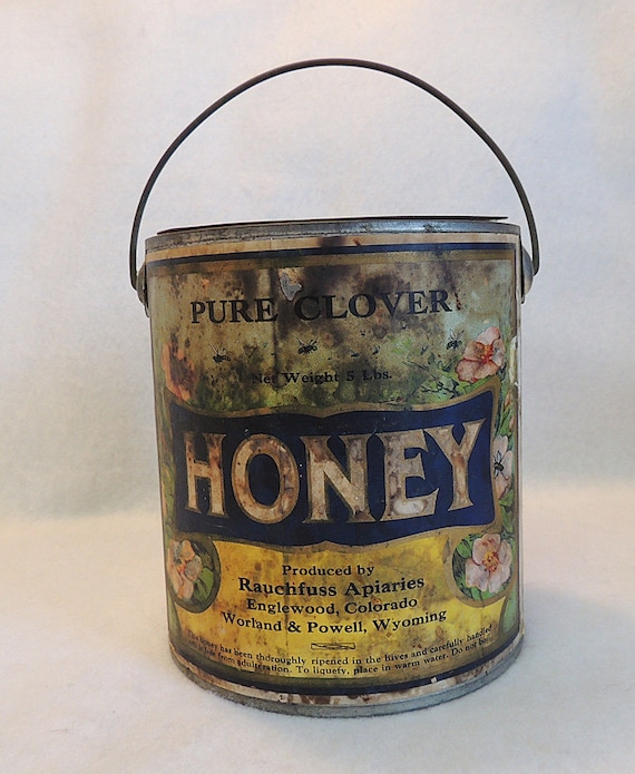 Antique 1800's CLOVER HONEY Tin 5 lbs Original Label Rare Primitive Bail Can Tin