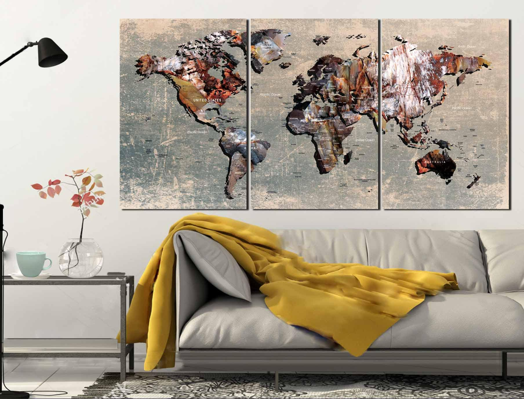 World Map World Map Wall Art World Map Canvas Push Pin World Map