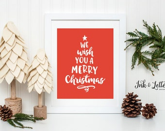 Christmas Art Print - We Wish You a Merry Christmas - Red Holiday Decor - Christmas Wall Art - Christmas Tree - Instant Download - 8x10