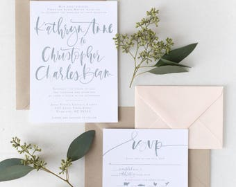 The Kathryn - Simply Grey Custom Watercolor Brush Lettering Wedding Invitation Suite