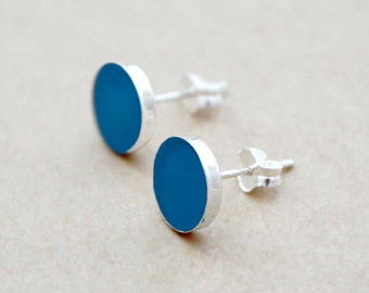 Sterling Silver Studs - Round Bezel Earrings - Any Color