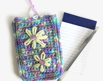 Colorful Flowers Soft List Pad Case, Small 3x5 Notepad Cover, Travel Notepad Sleeve, Notepad and Pen Included, Small Soft Notepad Holder