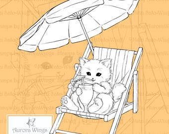 PNG Digital Stamp - Beach Kitty - Whimsical Fun Summer Animal Fantasy - digistamp - Fantasy Line Art for Cards & Crafts by Mitzi Sato-Wiuff