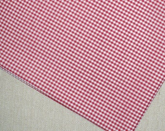 Red and white gingham, 1/8 inch, cotton blend, 1 YARD, lightweight, yarn-dyed