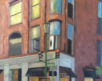 painting of The Restoration on King Hotel, architecture, oil  by Velma Serrano