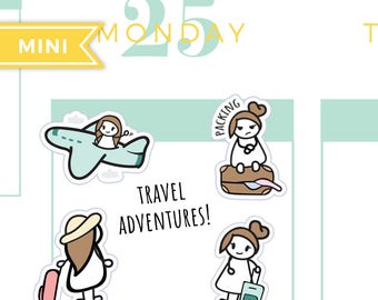 Travel planner stickers, flight stickers, packing luggage stickers, getaway stickers, vacation stickers