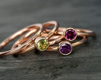 Rose Gold Fill Stacking Ring Set of 5 Rings 4mm Faceted Gemstones Birthstone 14k Rose Gold Filled* You Choose Gemstone * Stackable Gem Rings