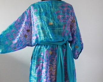 Vintage 1980s BATWING Dress, 80s Blue Purple Beach Cover, Bohemian New Wave Semi Sheer Dress, UK M 14 Medium