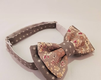 Bow tie blue Cargo men, flowers and brown-beige tones