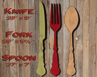 Fork and spoon etsy fork wall decor fork and spoon decor farmhouse home decor large fork and spoon spoon wall ppazfo