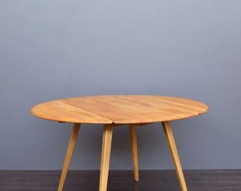 Vintage Retro Mid Century Retro Ercol Beech & Elm Circular Drop Leaf Dining Table with Splayed Legs