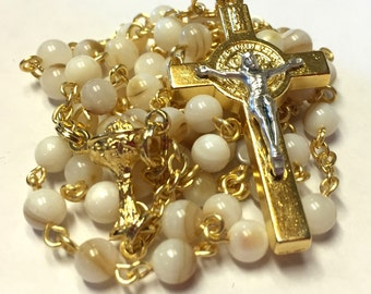 First Communion Catholic Handmade Rosary for Girls in Shell and Gold
