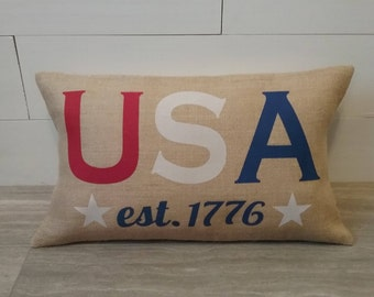 4th of July burlap pillow covers, outdoor USA red white and blue