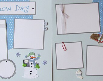 SNOW DAY 12x12 Premade Scrapbook Pages - boy or girl scrapbook layouts, snowman scrapbook, family scrapbooking, winter fun, pre-made layouts