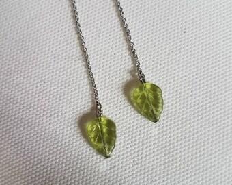Glass leaf threader earrings