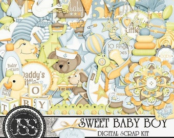On Sale 50% Off Sweet Baby Boy Digital Scrapbook Kit for Digital Scrapbooking and Paper Crafting