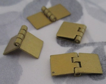 20 pcs. vintage raw brass small hinges 16x8mm - f2979