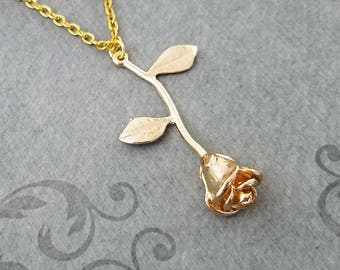 Rose Necklace Rose Charm Necklace Rose Jewelry Rose Pendant Necklace Valentine's Day Gift Anniversary Jewelry Girlfriend Necklace Bridesmaid