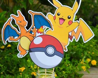Pokemon Centerpieces Pokemon Go Centerpieces Pokemon Go Birthday Pokemon Birthday Decorations Charzard Pokemon Cake Topper Pikachu Birthday