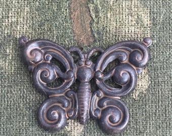 5 brass butterflies, Vintaj butterfly, beautiful brass butterfly, vintage style jewelry or craft adornment, DIY jewelry finding, brass charm