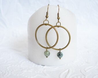 Confidence Self-Acceptance Positivity - African Turquoise Bronze Hoops Reiki-infused