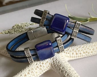 Bracelet-Double Strand Flat Leather Cuff-Cobalt Blue Greek Ceramic Bead Slider With Greek Key Strand Separator-Denim Blue-Silver-Magnetic