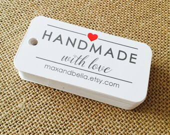 Handmade with Love Custom Tags, Product Tags, Personalized Tags, Wedding Tags, Product Tags, Gift Tags, Personalized Tags - Set of 20