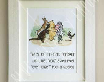 Framed Winnie The Pooh Quote Print New Babybirth Nursery