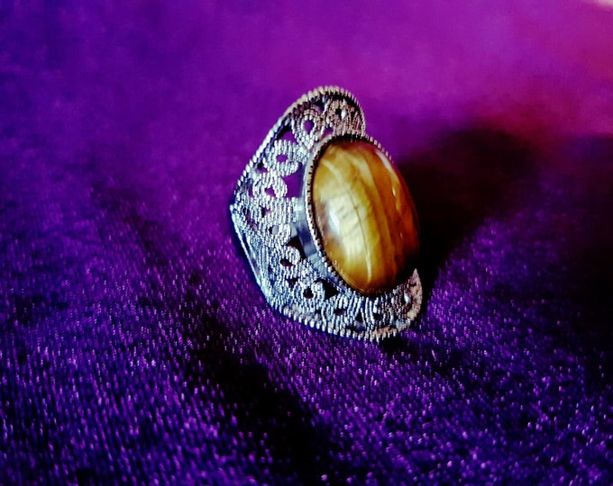 Tiger Eye Ring - spiritual gemstone jewel ring tigerseye tigereye stone ring gothic