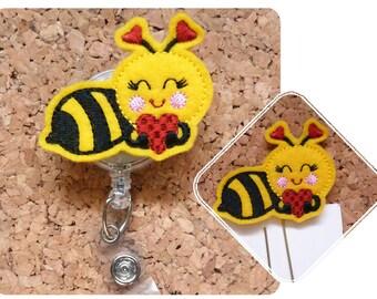 Badge Reel, Bee Love Id Badge Reel, Felt Valentine Badge Reel, Retractable Name Holder, Nurse Gift, Teacher Gift, 1162